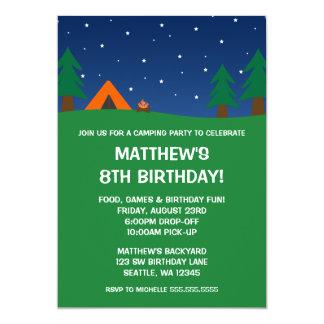Festa de aniversário de acampamento convite 12.7 x 17.78cm