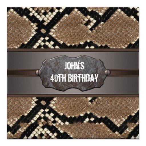 Festa de aniversário de couro da pele de cobra convite