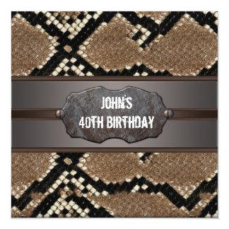 Festa de aniversário de couro da pele de cobra convite quadrado 13.35 x 13.35cm