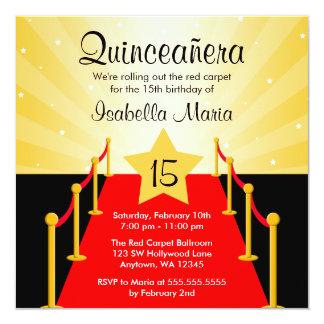 Festa de aniversário de Hollywood Quinceanera do Convite Quadrado 13.35 X 13.35cm