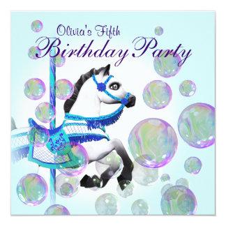 Festa de aniversario de meninas azul do pônei do convite quadrado 13.35 x 13.35cm