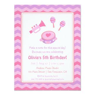 Festa de aniversario de meninas dos instrumentos convite 10.79 x 13.97cm