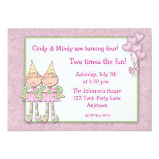 Festa de aniversario de meninas gêmea convite 12.7 x 17.78cm