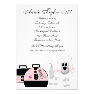 Festa de aniversario de meninas preta cor-de-rosa  convite