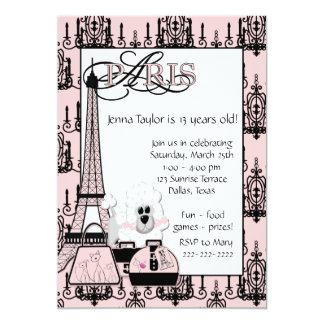 Festa de aniversario de meninas preta cor-de-rosa convite 12.7 x 17.78cm