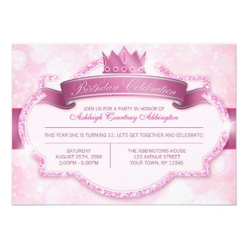 Festa de aniversario de meninas real da princesa C Convite Personalizado