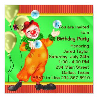 Festa de aniversário de mnanipulação do palhaço de convite quadrado 13.35 x 13.35cm