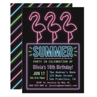 Festa de aniversário de néon do verão dezesseis do convite 11.30 x 15.87cm