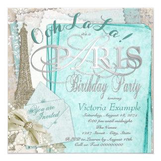 Festa de aniversário de Paris do vintage da Convite Quadrado 13.35 X 13.35cm
