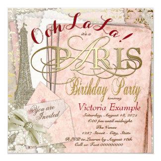 Festa de aniversário de Paris do vintage do La do Convite Quadrado 13.35 X 13.35cm