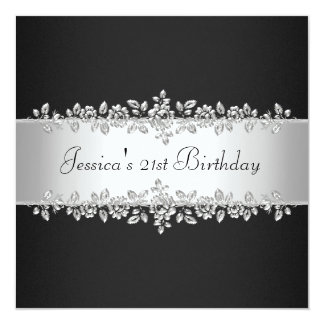 Festa de aniversário de prata preta & branca convite personalizado