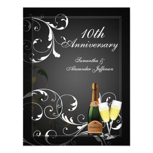 Festa de aniversário de prata preto e branco de Ch Convites Personalizado