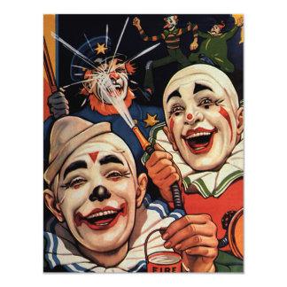 Festa de aniversário de riso dos palhaços de circo convite 10.79 x 13.97cm