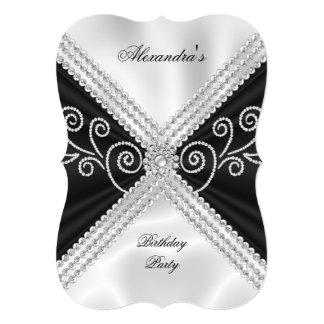 Festa de aniversário de seda branca preta elegante convite 12.7 x 17.78cm