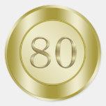 festa de aniversário do 80 adesivo em formato redondo