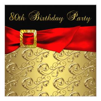 Festa de aniversário do 80 da mulher vermelha do d convite personalizados