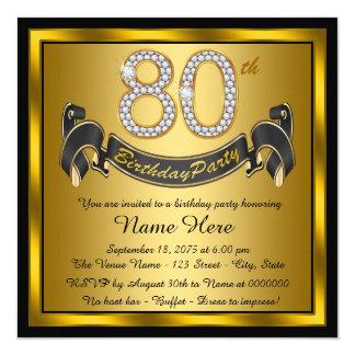 Festa de aniversário do 80 do ouro convite quadrado 13.35 x 13.35cm