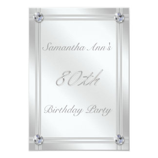 festa de aniversário do 80 - olhar da prata e dos convite 8.89 x 12.7cm