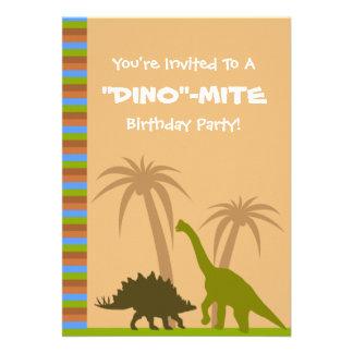 Festa de aniversário do ácaro de Dino do dinossaur Convite Personalizados