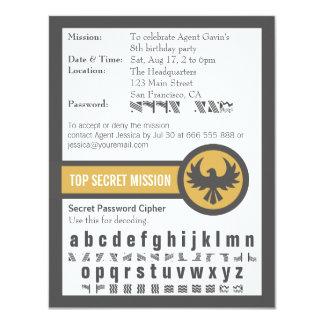 Festa de aniversário do agente secreto da senha convite 10.79 x 13.97cm