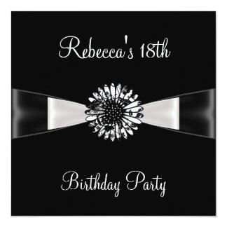 Festa de aniversário do arco preto da flor branca convites personalizados