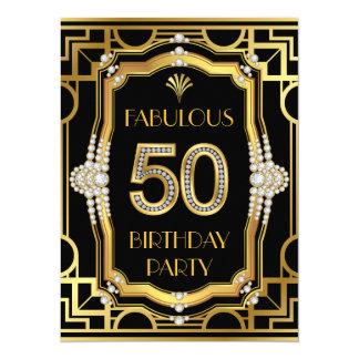 Festa de aniversário do art deco 50th convite 13.97 x 19.05cm