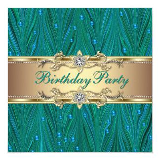 Festa de aniversário do azul da cerceta do ouro e convite quadrado 13.35 x 13.35cm