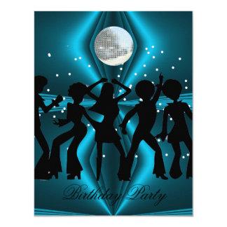 Festa de aniversário do azul da dança do disco convite 10.79 x 13.97cm