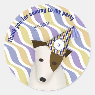 festa de aniversário do azul do cão de filhote de adesivo redondo