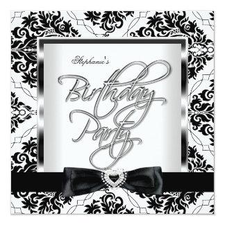 Festa de aniversário do branco do preto da prata convite quadrado 13.35 x 13.35cm