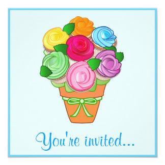 Festa de aniversário do buquê do cupcake convite personalizados