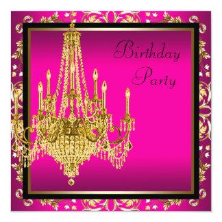 Festa de aniversário do candelabro do damasco do convite quadrado 13.35 x 13.35cm