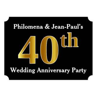 Festa de aniversário do casamento do olhar 40th do convite 12.7 x 17.78cm