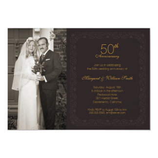 Festa de aniversário do casamento do ouro 50th da convite 12.7 x 17.78cm