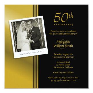 Festa de aniversário do casamento do ouro 50th da convite quadrado 13.35 x 13.35cm