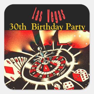 Festa de aniversário do casino de Las Vegas Adesivo Quadrado