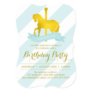 Festa de aniversário do cavalo do carrossel da convite 12.7 x 17.78cm