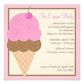 Festa de aniversário do cone do sorvete dos gêmeos convite personalizado
