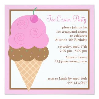 Festa de aniversário do cone do sorvete dos gêmeos convite quadrado 13.35 x 13.35cm