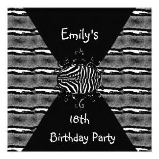 Festa de aniversário do convite branco preto 18a