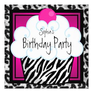 Festa de aniversário do cupcake das meninas da convite quadrado 13.35 x 13.35cm