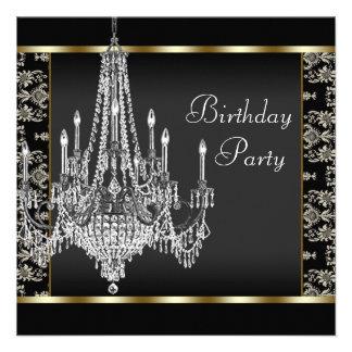 Festa de aniversário do damasco do preto do candel convites personalizados
