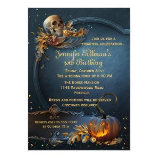 Festa de aniversário do Dia das Bruxas do crânio e Convite 12.7 X 17.78cm