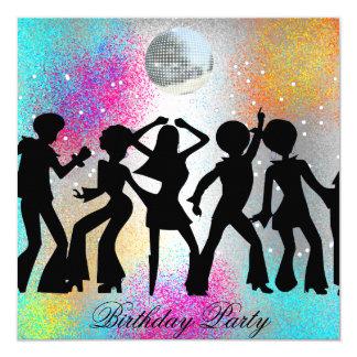Festa de aniversário do disco da dança psychodelic convite quadrado 13.35 x 13.35cm