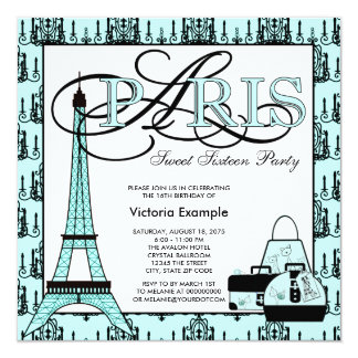 Festa de aniversário do doce 16 de Paris do preto Convite Quadrado 13.35 X 13.35cm