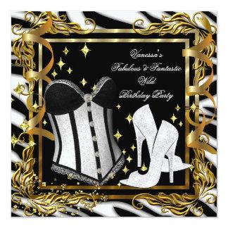Festa de aniversário do espartilho do preto do convites personalizados