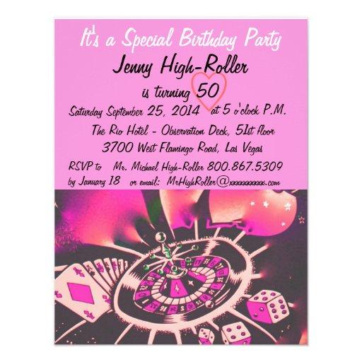 Festa de aniversário do estilo de Las Vegas Convite Personalizados