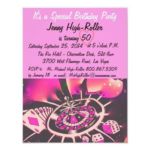 Festa de aniversário do estilo de Las Vegas Convite 10.79 X 13.97cm