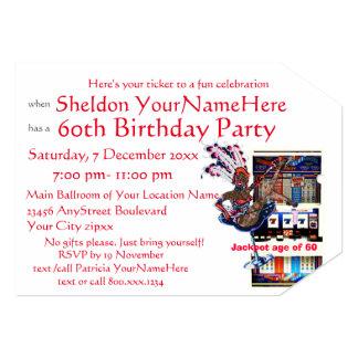 Festa de aniversário do estilo de Vegas do slot Convite 12.7 X 17.78cm