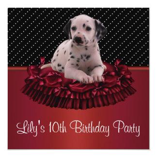 Festa de aniversário do filhote de cachorro convite quadrado 13.35 x 13.35cm